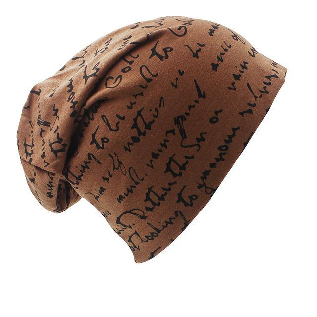 Letter Pattern Warm Winter Hip Hop Beanie Brown