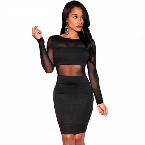 Sexy Black Bandage Dress Hollow Out Mesh Pencil Bodycon Dress Front
