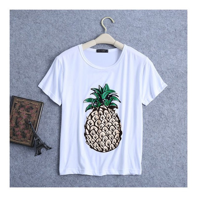 Casual Pineapple Print Tee