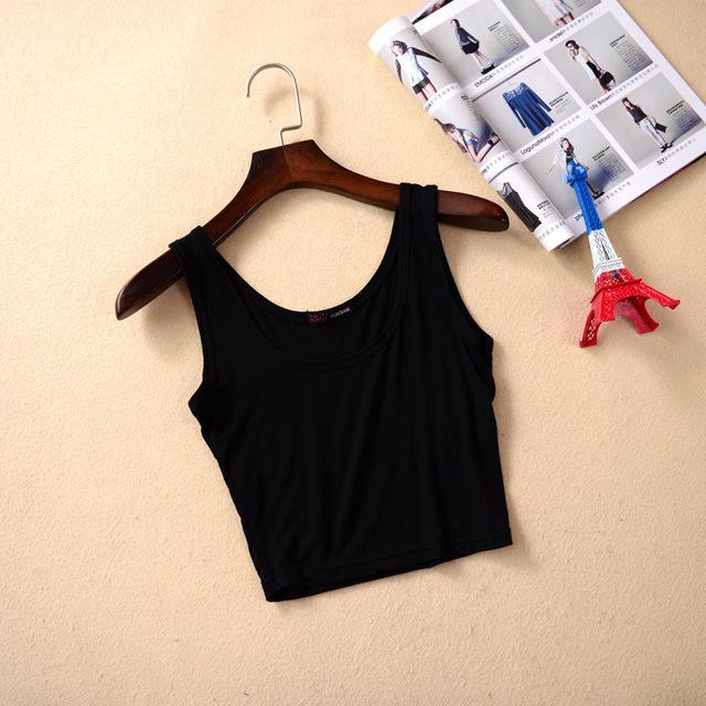 Summer Slim Sleeveless Croptop Black