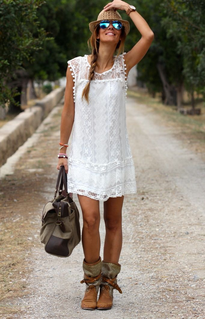 Sleeveless Lace Beach Dress - HEATHLEAF