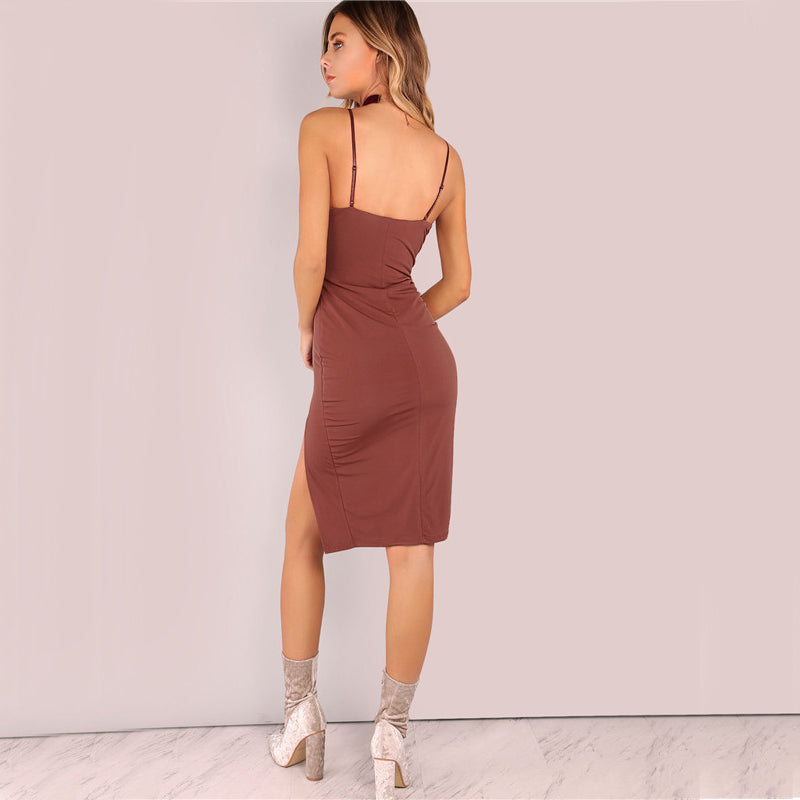 2018 Party Dress Sexy Bodycon Cami Slim Brown Spring Dress Back