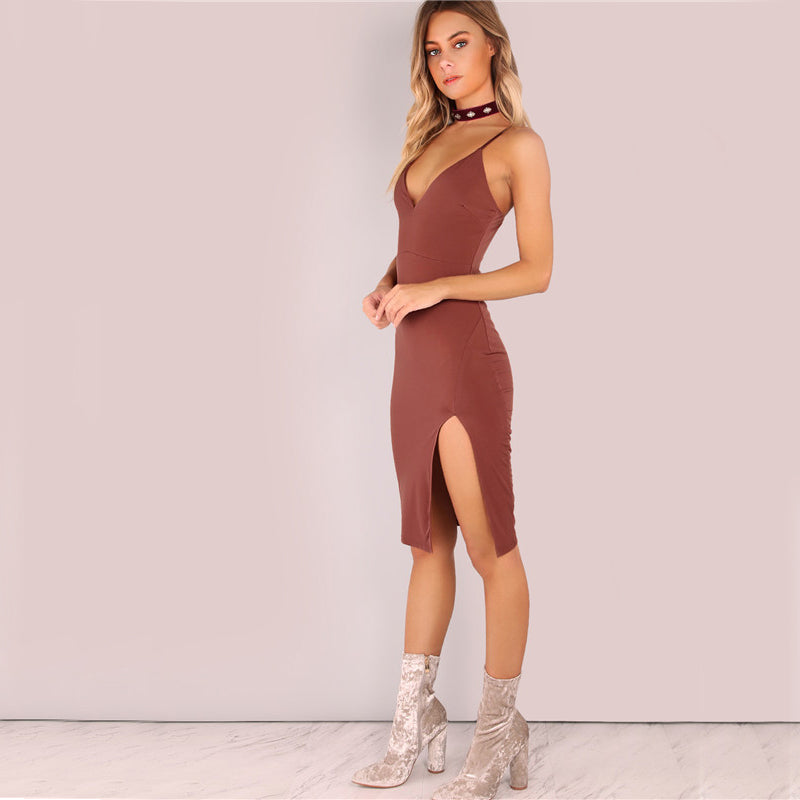 2018 Party Dress Sexy Bodycon Cami Slim Brown Spring Dress Side
