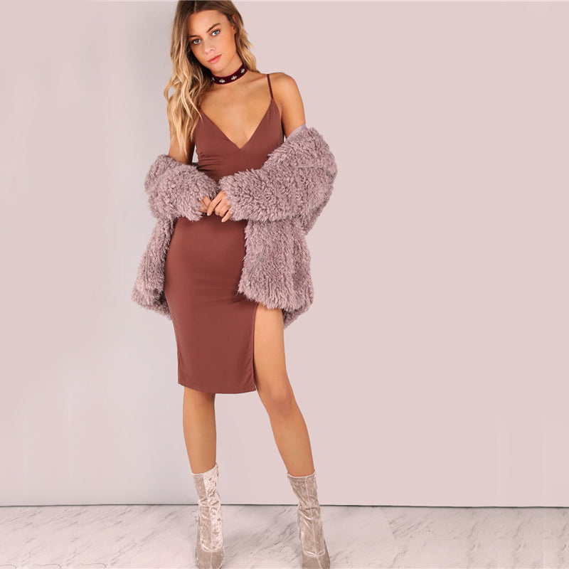 2018 Party Dress Sexy Bodycon Cami Slim Brown Spring Dress Coat