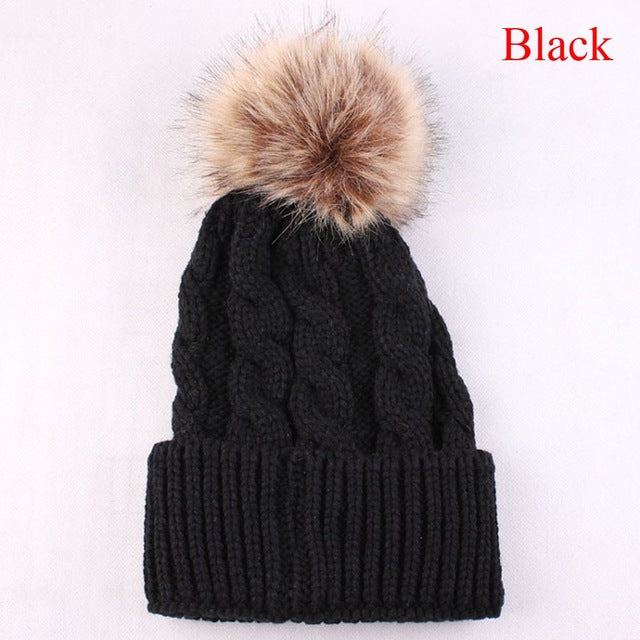 Cute Pom Pom Beanie Warm Knitted Wool Cap for Winter Black