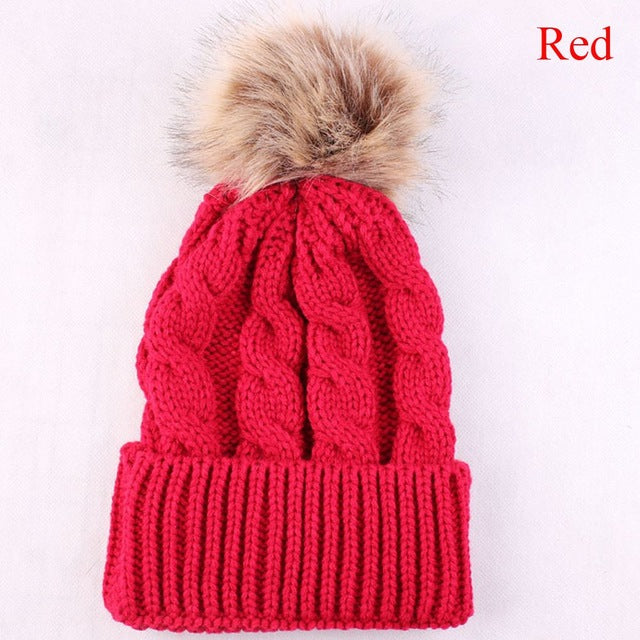 Cute Pom Pom Beanie Warm Knitted Wool Cap for Winter Red