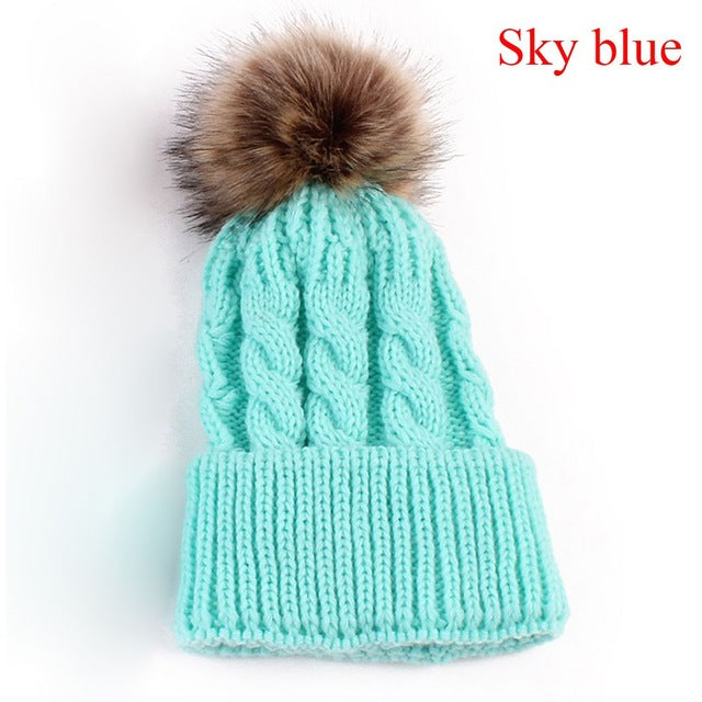 Cute Pom Pom Beanie Warm Knitted Wool Cap for Winter Sky Blue