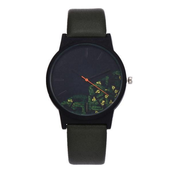 Floral Pattern Watch Green