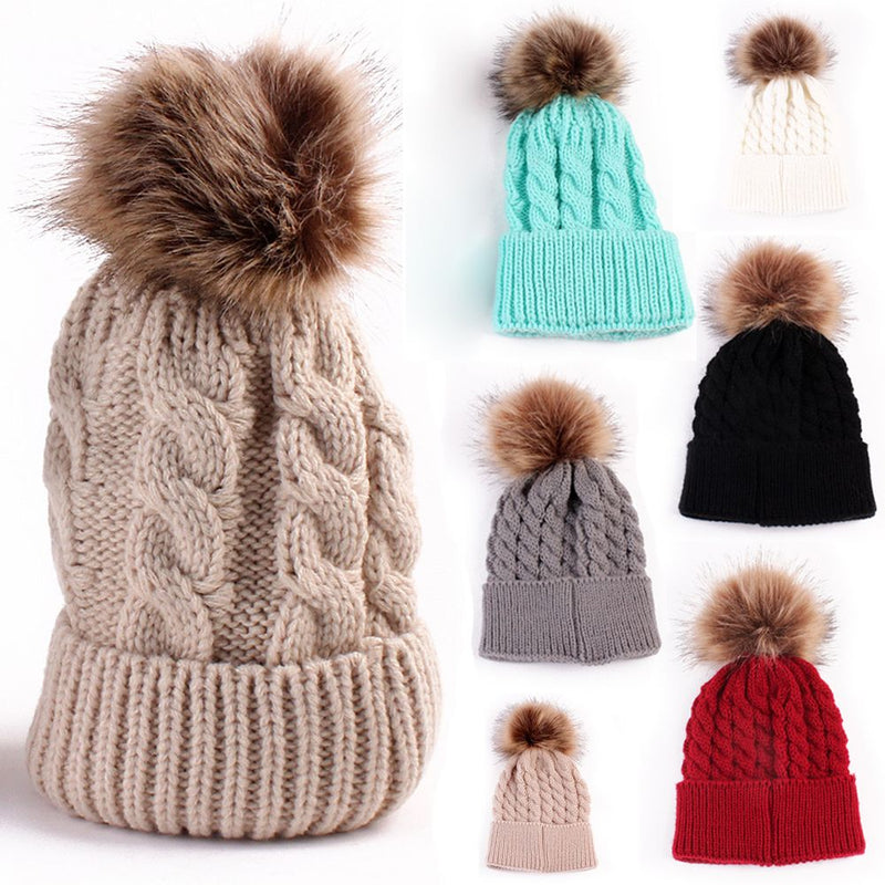 Cute Pom Pom Beanie Warm Knitted Wool Cap for Winter All Colors