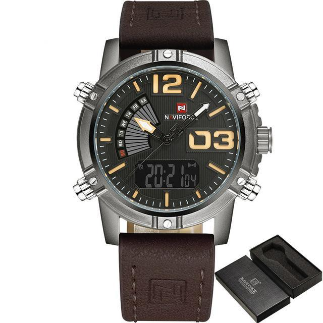 Men's Military Waterproof Watch Fashion Sport Watches Black Yellow