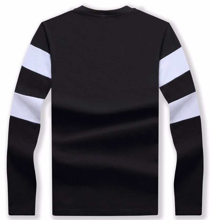 Striped Winter Long Sleeve Sweater Mens Pullover Black Back