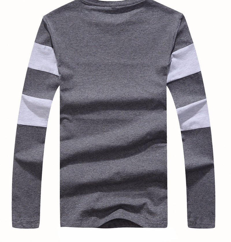 Striped Winter Long Sleeve Sweater Mens Pullover Gray Back