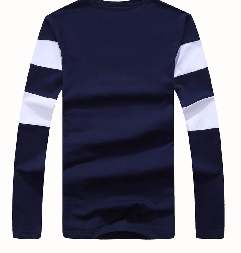 Striped Winter Long Sleeve Sweater Mens Pullover Blue Back