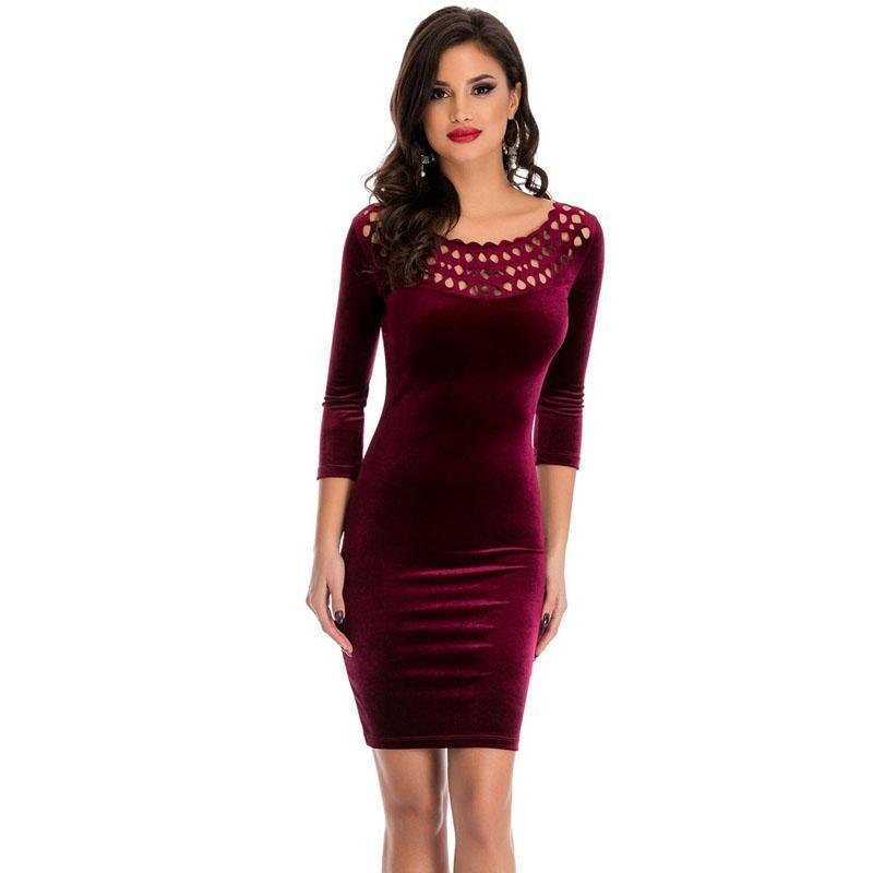Sexy Spring 2018 Elegant Pencil Party Bodycon Dress Burgundy
