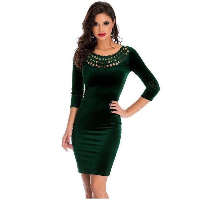 Sexy Spring 2018 Elegant Pencil Party Bodycon Dress Dark Green