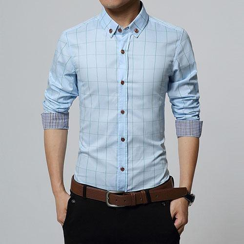 Stylish Plaid Slim Fit Button Up Long Sleeve Shirt Light Blue