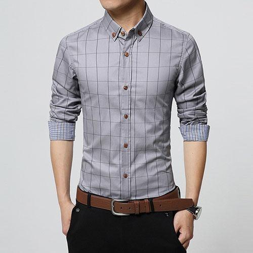 Stylish Plaid Slim Fit Button Up Long Sleeve Shirt Gray