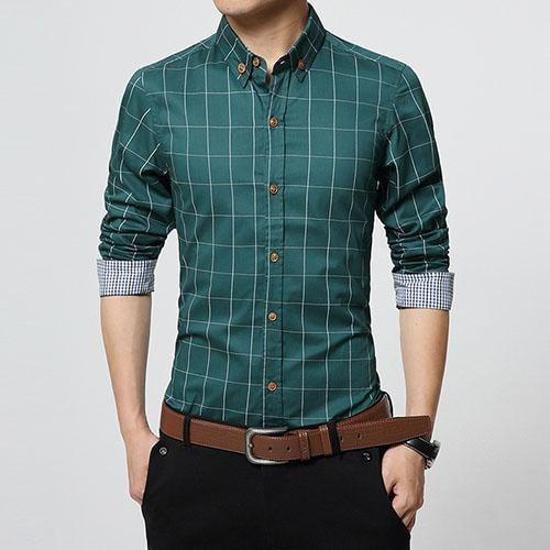 Stylish Plaid Slim Fit Button Up Long Sleeve Shirt Pea Green