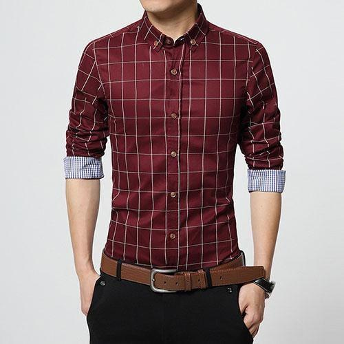 Stylish Plaid Slim Fit Button Up Long Sleeve Shirt Red