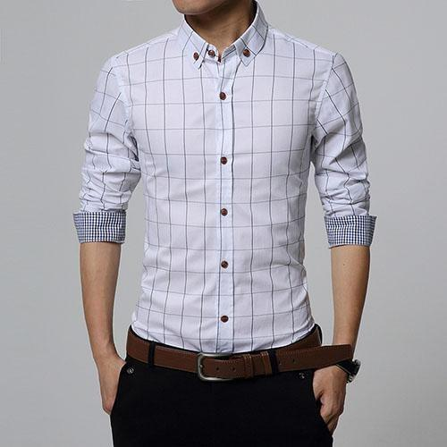 Stylish Plaid Slim Fit Button Up Long Sleeve Shirt White