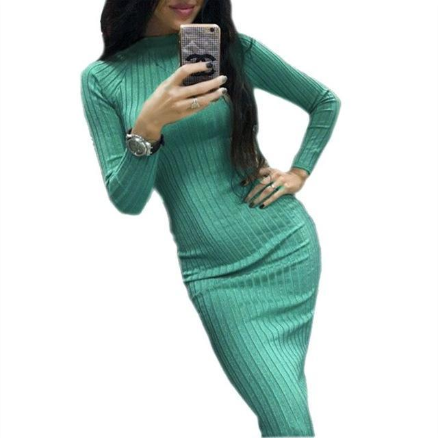 Knitted Oversized Sweater Bodycon Dress - HEATHLEAF