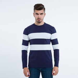 Striped Winter Long Sleeve Sweater Mens Pullover Pose Front