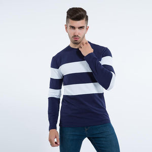 Striped Winter Long Sleeve Sweater Mens Pullover Pose 3