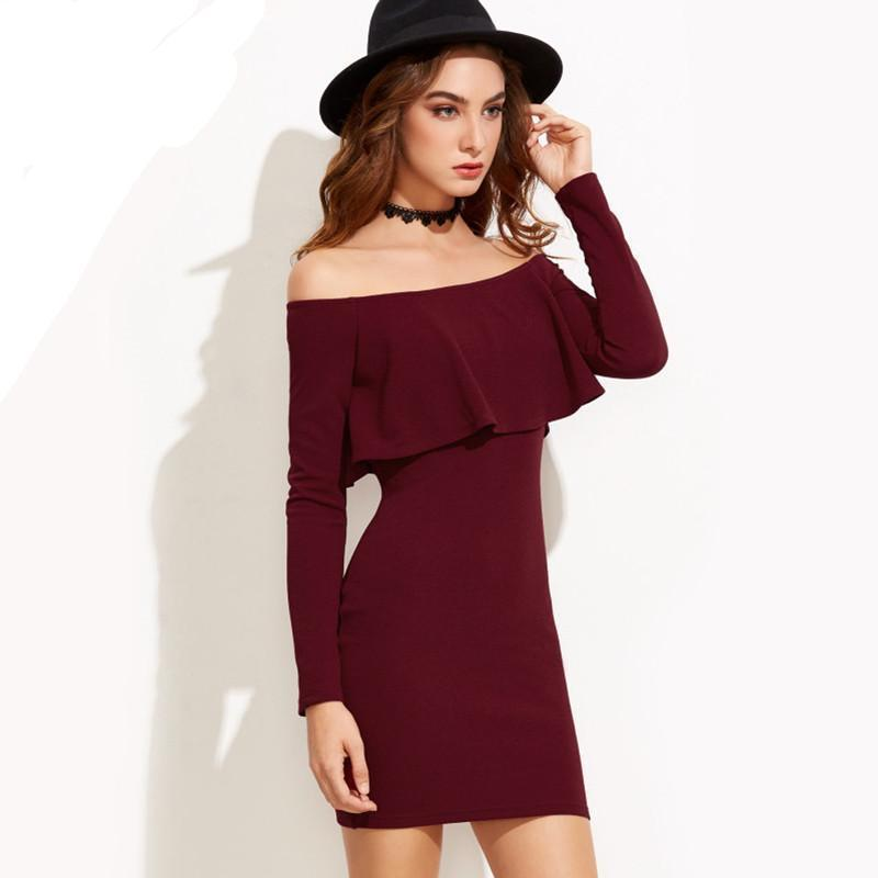 Winter Burgundy Bodycon Off Shoulder Dress Ruffle Mini Right Side