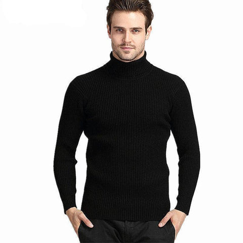 Thick Winter 100% Cashmere Slim Turtleneck Sweater Black