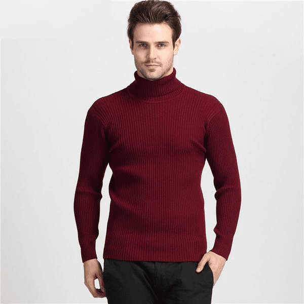 Thick Winter 100% Cashmere Slim Turtleneck Sweater Red