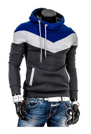 Winter Sports Fashion Hoodie Iron Gray and Blue