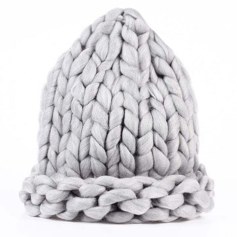 Winter Crochet Knitted Mink Beanie Fashion European Hat Gray
