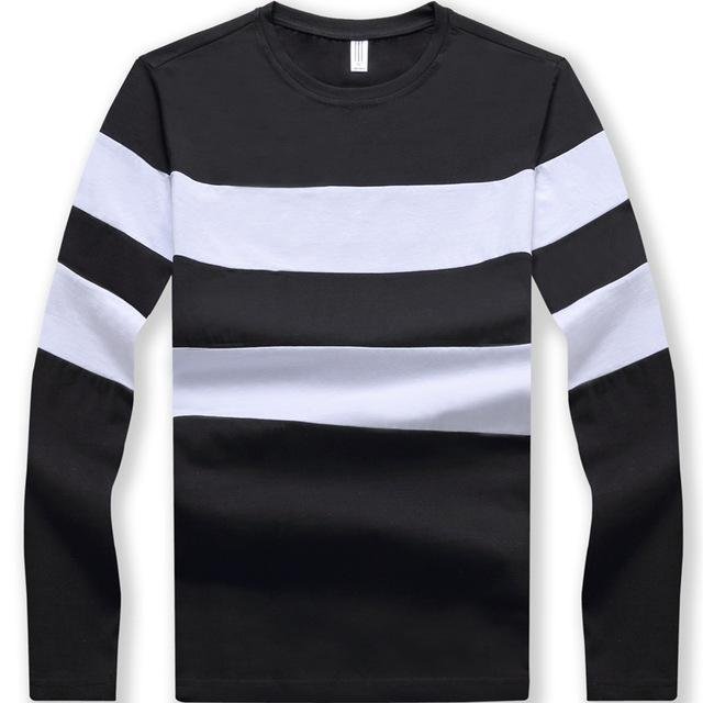 Striped Winter Long Sleeve Sweater Mens Pullover Black Front