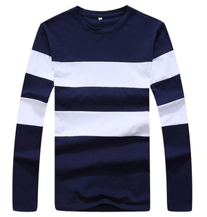 Striped Winter Long Sleeve Sweater Mens Pullover Blue Front