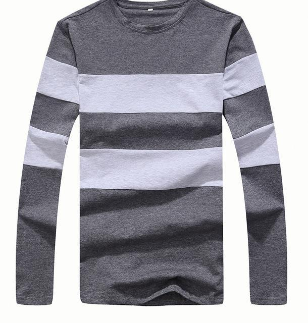 Striped Winter Long Sleeve Sweater Mens Pullover Gray Front