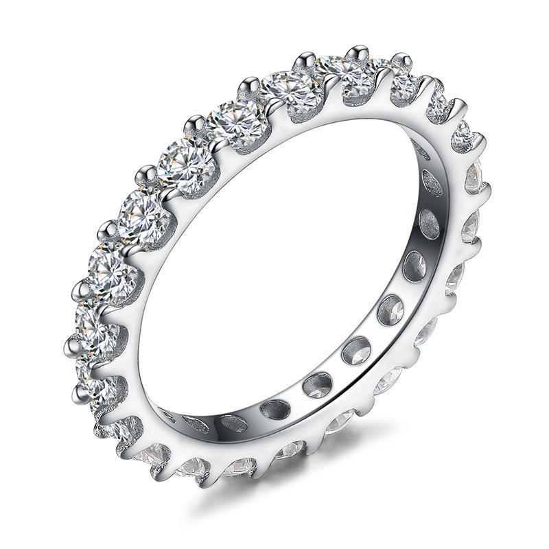 Sterling Silver Eternity Ring Cubic Zirconia Engagement Ring
