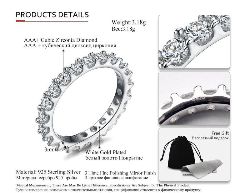 Sterling Silver Eternity Ring Cubic Zirconia Engagement Ring Details
