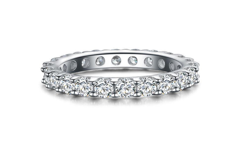 Sterling Silver Eternity Ring Cubic Zirconia Engagement Ring Side