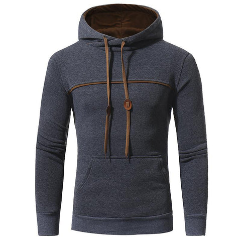 Casual Winter Fashion Gray Hoodie Soft & Warm Mens Hoodie Dark Gray