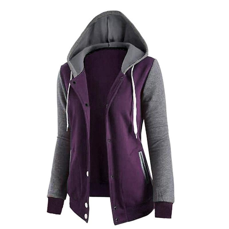 Womens Loose Hoodie Tracksuit Jacket Top Button Up Purple