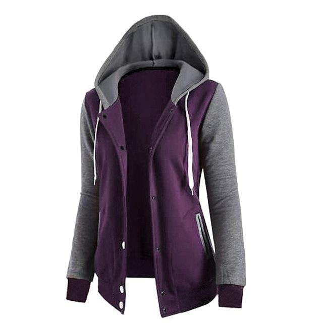 Womens Loose Hoodie Tracksuit Jacket Top Button Up Purple 2