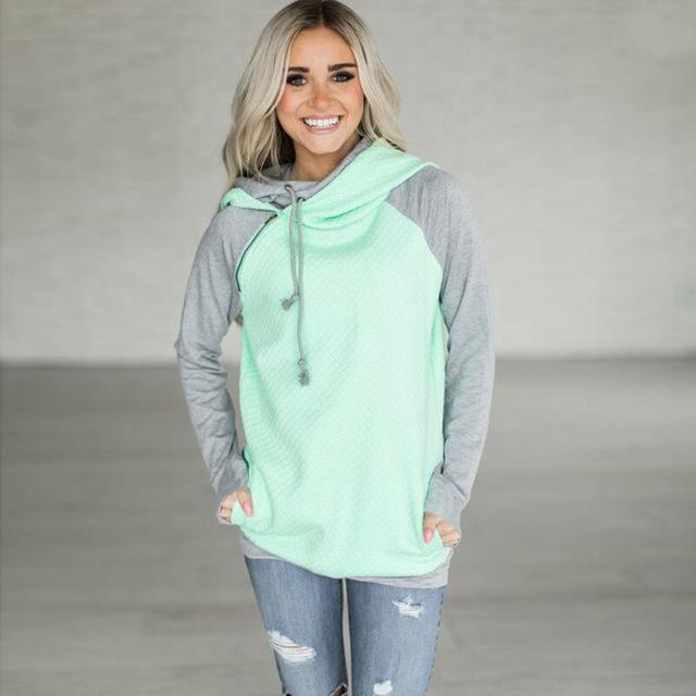Fashion Double Hood Womens Pullover Hoodie Green