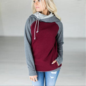 Fashion Double Hood Womens Pullover Hoodie Wine Red