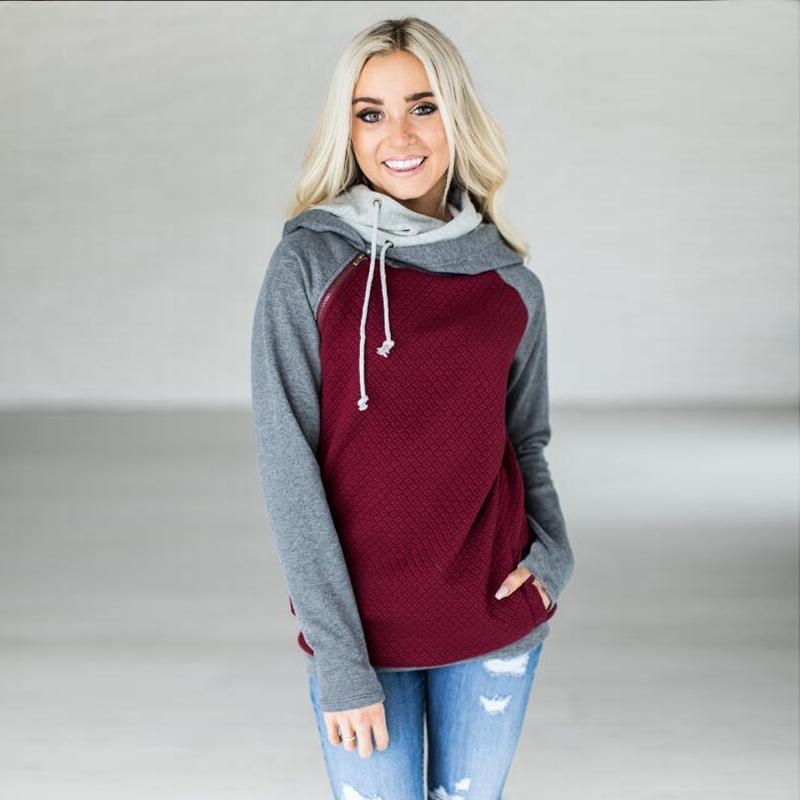 Fashion Double Hood Womens Pullover Hoodie Wine Red 2