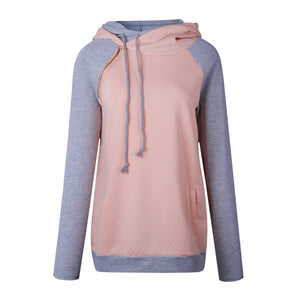 Fashion Double Hood Womens Pullover Hoodie Pink 2