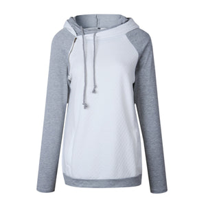 Fashion Double Hood Womens Pullover Hoodie White 2