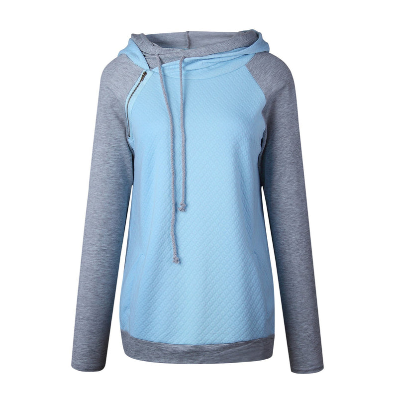 Fashion Double Hood Womens Pullover Hoodie Blue 2