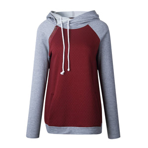 Fashion Double Hood Womens Pullover Hoodie Wine Red 3