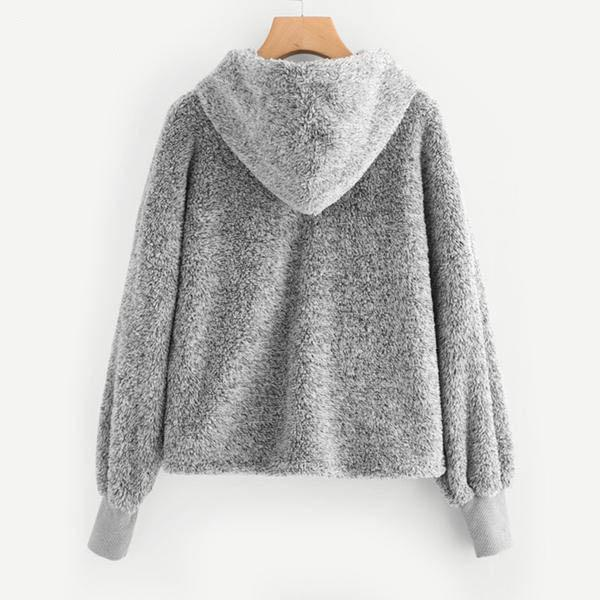 Fluffy Fur Gray Hoodie Back