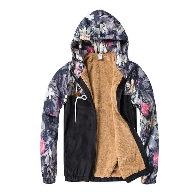 Men's Hip Hop Bomber Jacket Floral Slim Fit Coat  Fleece Navy